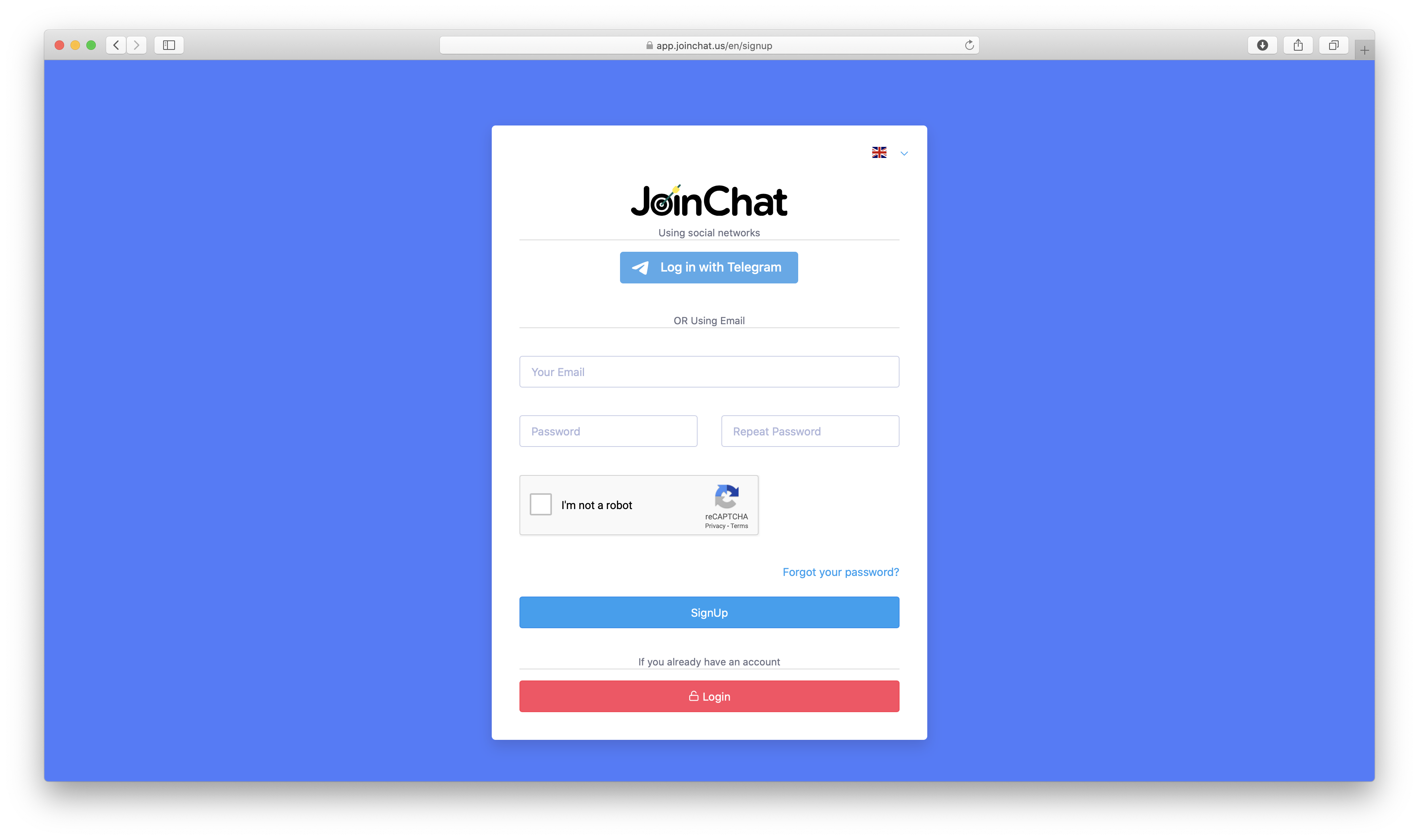 Регистрация Joinchat