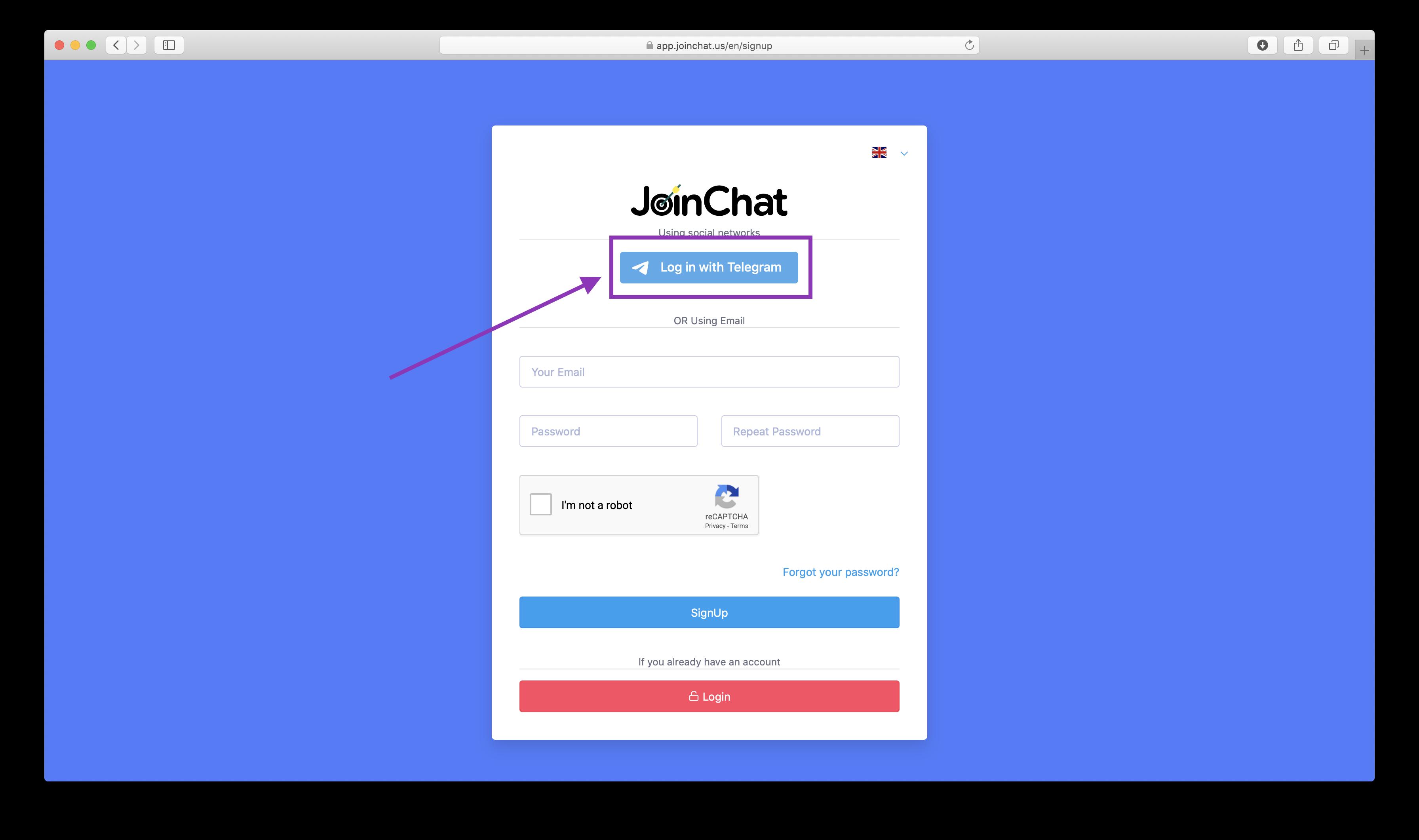 Регистарация через социальные JoinChat.us